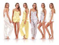 Ladies 3 Piece Satin Pyjama Set Womens Vest Lace Shorts PJ'S Nightwear