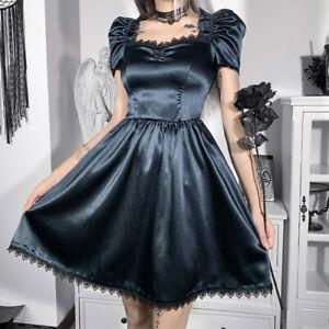 Ladies Victorian Dress Gothic Lace Satin Lolita Short Puff Sleeve Retro Summer