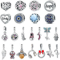 Real 925 Silver Crystal CZ Charm Beads Fit 925 sterling Original charm Bracelets