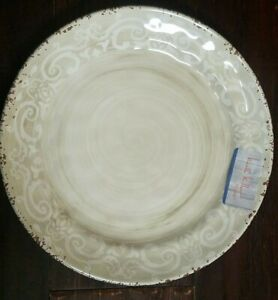NEW NICOLE MILLER RUSTIC SCROLL MEDALLION BEIGE WHITE SET OF 4 SALAD PLATES