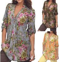UK Femme Vintage Imprimé Floral Col V Tunique Chemisier T Shirt Mode
