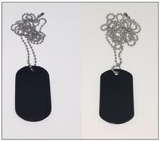 Standard Military Dog Tag in BLACK with Chain, Army ID Tag, Necklace Soldier