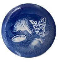 MOTHER'S DAY 1971 Plate Mors Dag Bing & Grondahl Cat With Kitten Denmark Blue
