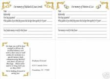50th WEDDING ANNIVERSARY MEMORY CARDS POSTCARD SIZE