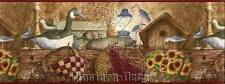 International Country Cabin Wallpaper Border Bird Decoys Baskets Sunflowers