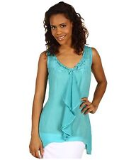 Johnny Was Teal Blue Ruffle Embroidered Draped Pull on Tank Top Shirt XS