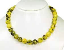 Stylish Precious Stone Necklace in chyta Serpentine in Ball Shape d-12 mm