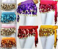 Shiny Colourful Coins Belly Dancing Dancer Skirt Belt Hip Scarf Wrap Costume UK