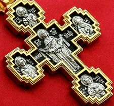 LARGE RUSSIAN GREEK ORTHODOX CRUCIFIX ,SILVER 925 +.999 GOLD. MOTHER OF GOD SIGN