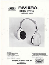 VINTAGE AD SHEET #3272 - 1970s RIVIERA ELECTRONICS MODEL HVR-66 HEADPHONE RADIO