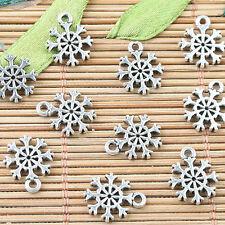 Alloy metal Tibetan Silver2sided mini snowflake design charms 40pcs EF0014