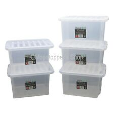 NEW Pack Of 5 British Made 24 Litre Clear Plastic Storage Boxes Box With Lids