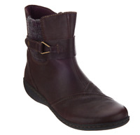 Clarks Leather Ankle Boots w/ Knit Panel - Fianna Adley Aubergine Womens Size 8