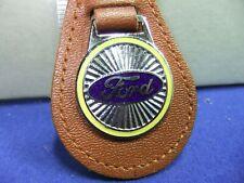 badge motor car keyring FORD advert motoring leather enamel 60s 70s