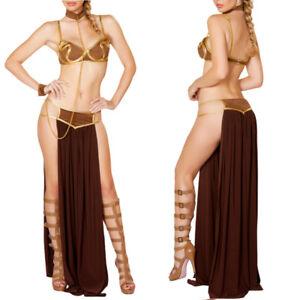 Women Princess Leia Slave Costume Adult Sexy Star Wars Dress Cosplay Fancy Dredh
