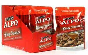 (12) Purina Alpo Gravy Cravers With Chicken Adult Dog Food 3.5 Oz BB 3/2022