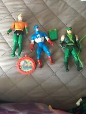 Vintage Dc Super Heroes Capt America Green Lantern Aquaman With Some Accessories