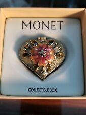 Monet Heart Collectible Trinket Box Enamel Rhinestones Magnetic Closure