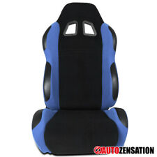 Right Passenger Side Reclinable Racing Seat Steel Blue/Black Fabric 1PC+Sliders