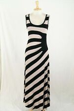 Calvin Klein Black Tan Striped Ruched Stretch Jersey Knit Maxi Tank Dress Size 8