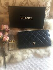 Authentic Chanel Long Wallet Clutch Quilted Matelasse Black Leather GORGEOUS!!