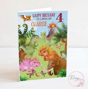 DINOSAUR Birthday Card -  Personalised -Boys Childs Son Grandson 2 3 4 5 6 7 8 9