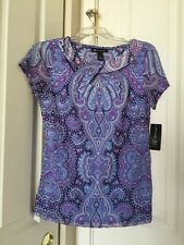 Womens INC International Concepts  Short Sleeve Pagoda Paisley Cutout Top Sz L