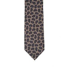 Borrelli Napoli Hand Made 100% Wool Brown Paisley Neck Tie New With Tags BT122