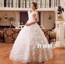 One Shoulder Floral Princess Bride's Wedding Dresses Bridal Ball Gowns Marriage