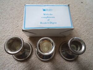 3 x Silver Plated Candlestick Holders Beaded Detail Boxed Readers Digest