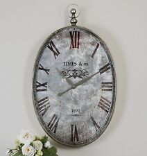"""RICH LARGE 35"""" ANTIQUED POCKET WATCH STYLE ROMAN NUMBERS METAL FRAME WALL CLOCK"""