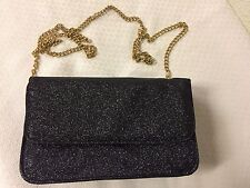 Ladies Womens Glitter Dazzling Black Sparkle Bag Handbag Purse Long Golden Chain