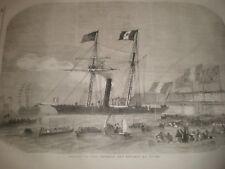 Napoleon III aboard SS Pelican arrives Dover 1855 print ref AV