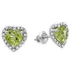 1.65 CT 10K White Gold Heart Green Peridot & Diamond Ladies Halo Stud Earrings