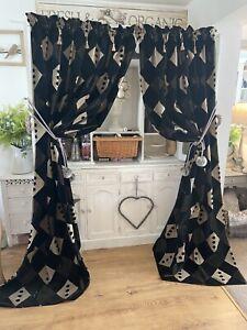 Handmade Vintage Art Deco Style Upholstery Weight Natural Black Velvet Curtains