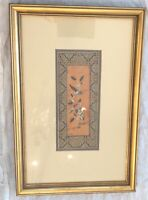 Fine Chinese Embroidery Silk Panel Textile Flowers & Bird Framed