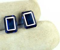 Loose Gemstone Pair 12.80 Natural Blue Tanzanite Emerald Cut Ct AGSL Certified