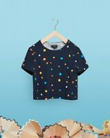 Ted Baker Navy Colour Spotted Elegant Designer Crop Top Blouse Size 0 Uk6