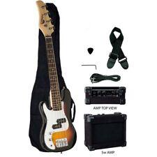 """Raptor 38"""" Junior 3/4 Size 4 String Kid's Electric Bass Pack - Tobaccoburst LEFT"""