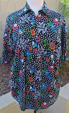 NWOT Solutions Size L 100% Rayon Black Floral Short Sleeve Blouse Shirt Top