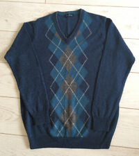 Men's James Pringle Mens 100% Lambswool Blue Argyle Diamond Golf Jumper  Medium