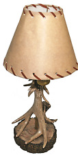 "Wilcor - Rustic Single Antler Lamp With Deer Shade, 18"" Tall"
