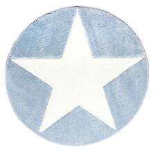 Kinderteppich Happy Rugs Star Blau/weiß 133cm rund