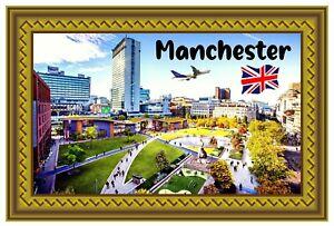MANCHESTER, UK - SOUVENIR NOVELTY FRIDGE MAGNET - SIGHTS / FLAG / NEW / GIFTS