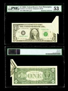 Butterfly Fold Error Fr. 1915-C $1 1988A Federal Reserve Note. PMG AU53