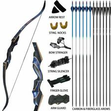 "50lb 54"" Archery Takedown Recurve Bow Set 12x Arrows Hunting Kit Adult Outdoor"