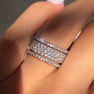 Gorgeous 925 Silver Jewelry Rings White Sapphire Wedding Rings Size 7-9 Women