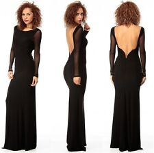 Black Low Back Evening Maxi Dress With Sheer Long Sleeves Party One Size UK8-10