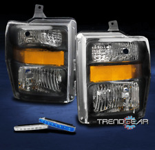 2008-2010 FORD F250 F350 SUPER DUTY CRYSTAL HEADLIGHT LAMP BLACK W/BLUE DRL LED