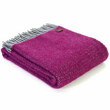 TWEEDMILL TEXTILES THROW 100% Wool Sofa Bed Blanket ILLUSION GRAPE PURPLE SILVER